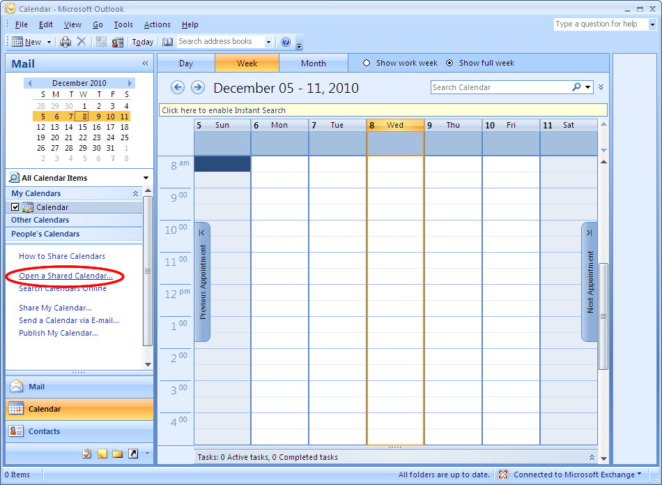 Microsoft outlook 2007 connect to a shared calendar for How to open an outlook template
