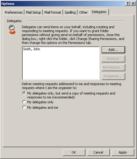 Microsoft Outlook 2007: Set up delegate access (Exchange